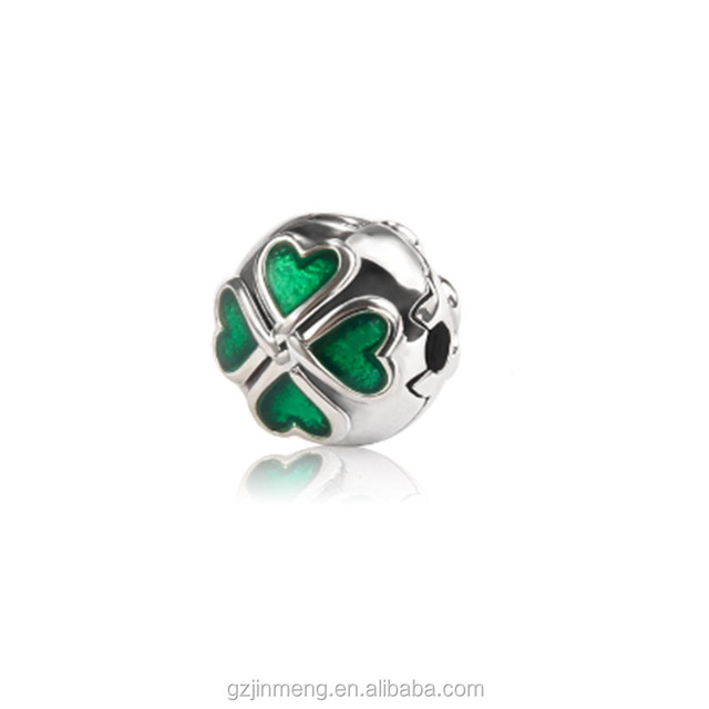 Jimond 925 sterling silver Four-leaf clover Clip Enamel DIY fit PAN bracelets