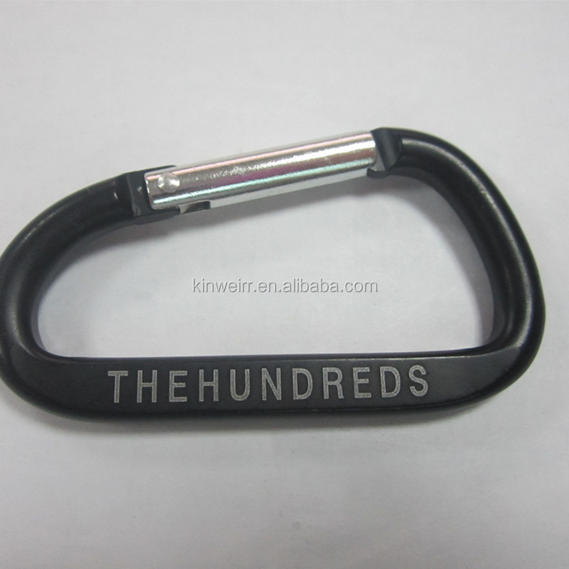 71MM Black Color Carabiner With White THE HUNDREDS LOGO For Wholesale