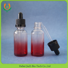 painted transparent red child proof glass dropper bottle