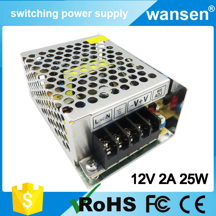 CE Approved AC to DC Power Supply 25W 12 Volt 2 Amp Power Supply S-25-12 120v 2a 12v switching power supply with 2 years warrant
