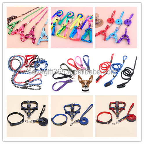 Rainbow Color Small Dog Pet Puppy Cat Adjustable Nylon Harness with Lead Leash Traction Rope