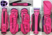 oem custom logo pink stand golf bag