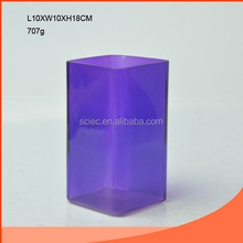 quadrangular -shaped and707G Elegant purple color glass vase wholesale