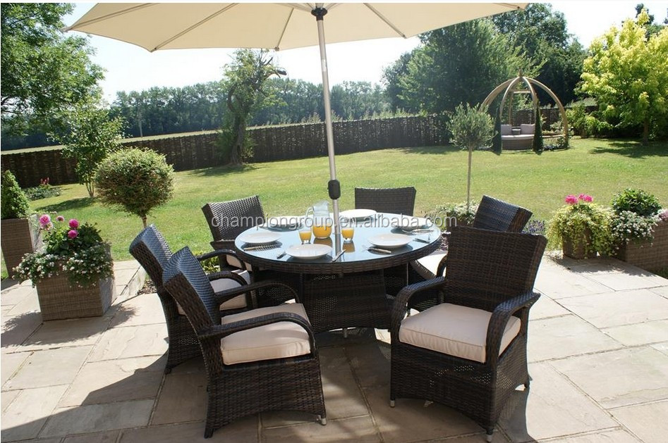 Garden Furniture 6 Chairs modren rattan garden furniture 6 seater texas brown round table