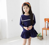 Online Shopping South Cotton Material Long Sleeve Blue Cotton Dress