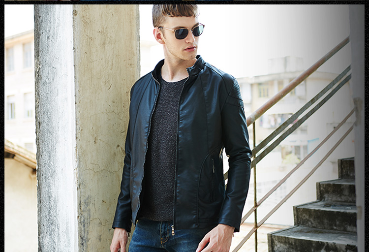 Good quality China supplier black motor Zipper PU leather jacket