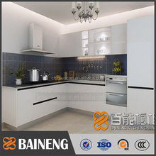 2016 kitchen cabinet finshed by high glossy white lacquer with flat pack cabinet kitchen