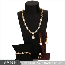 Vanfi new design charm high quality costume italian 18k gold plated crystal jewelry set