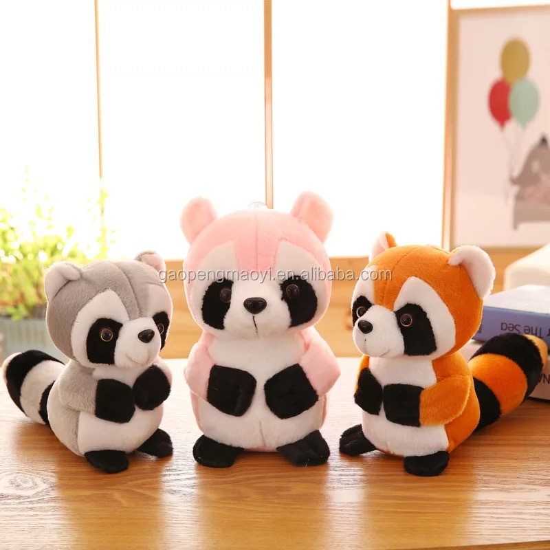 Newest Kawaii stuffed raccoon plush small soft toys cheap animal toys for children small raccoon with big eyes plush