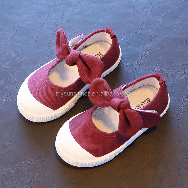 Size 21-30 Children Girls Shoes Cute Bowknot Princess Child Shoes 2017 Candy Color Dark Red Kids Bulk Canvas Shoes