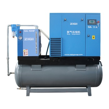 11KW Compact Mounted Screw Air Compressor With Air Tank