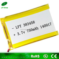 383458 3.6v 750mah li-ion rechargeable battery for portable dvd player