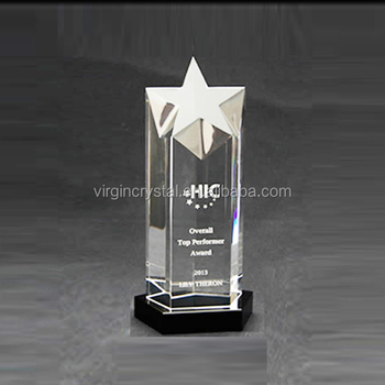 3D laser cut crystal cylinder shape star award trophy for unique company Christmas gift
