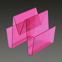 Pink color acrylic display stand acrylic brochure holder stand