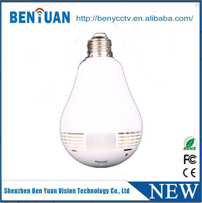 2016 new style hidden camera light bulb 360 degree fisheye IP camera support 128GB SD card