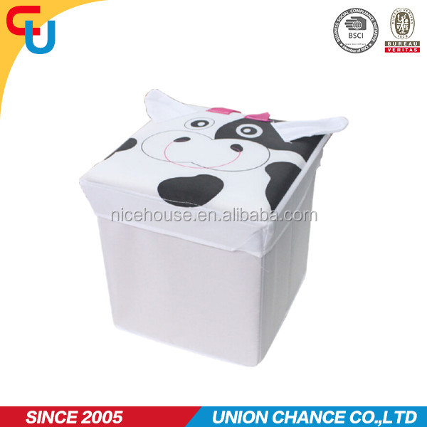 Cartoon dairy cow design collapsible fabric ottoman furniture