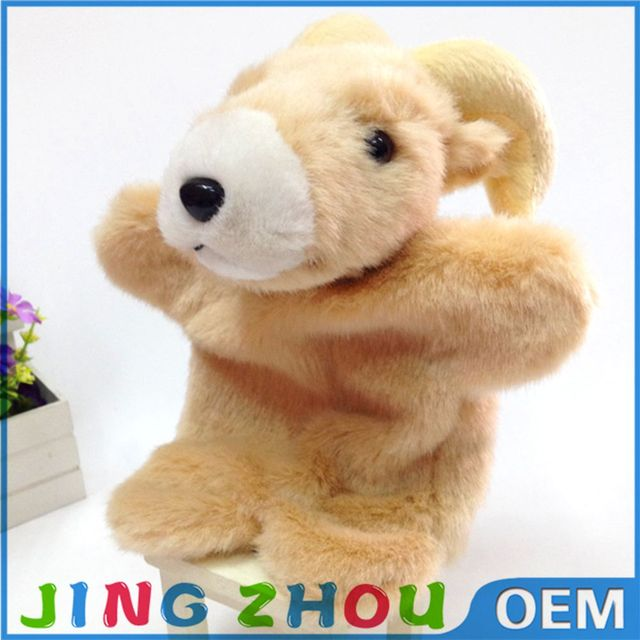 OEM new design cute animal plush goat hand puppet toy for children
