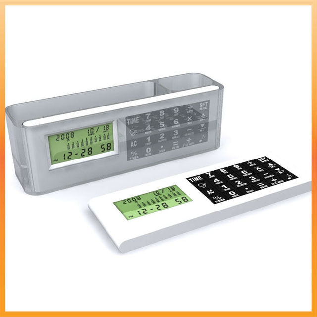Pen Holder with Calculator and World Time Clock