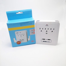 American Standard 3 AC Outlet Wall Mount Surge Protector Adapter with Dual USB Charging Port Indoor AC Power Wall Tap Adapter