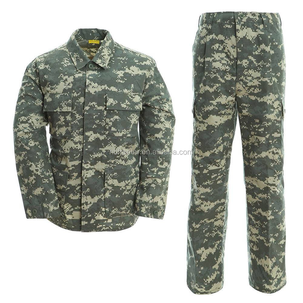 Button Loop cuffs and drawsting legs design BDU universal camo camouflage military combat uniform