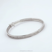zircon diamond Two lines Pave setting 925 sterling silver bangle,925 sterling silver bracelet,fashion wholeshale bangle