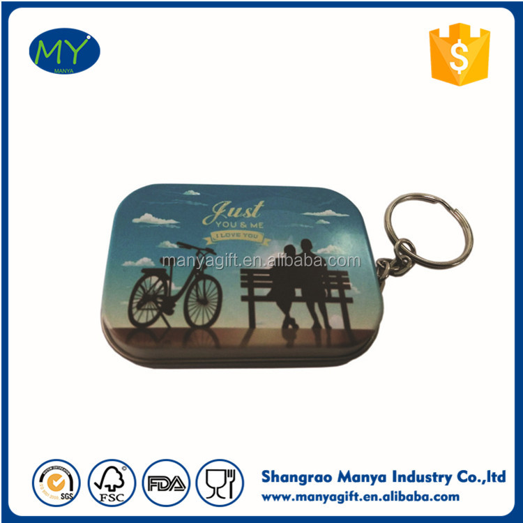 Mini Sqaure Tin Case Chain Metal Box