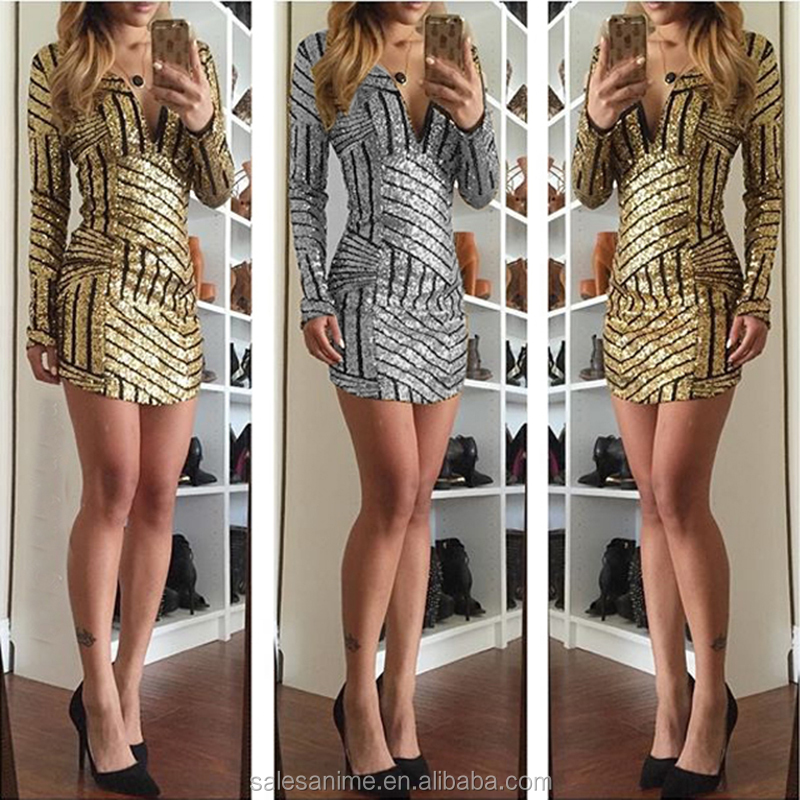 2016 New Arrival for Women Sexy Night Club Sequins Long Sleeve Sequined Dress