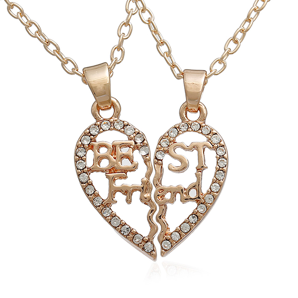 "Link Cable Chain Rose Gold Friendship BFF Message "" BEST FRIENDS "" Clear Rhinestone Broken Heart Hollow Pendant Necklace"