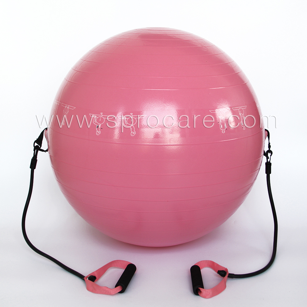 SP-FB3 Exercise Ball with Resistance Bands,For Fitness,Stability,Balance Ball with Two Pull-up Rubber Bands