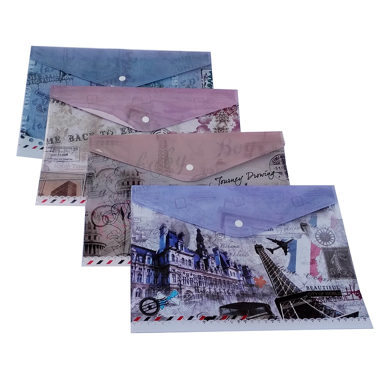 KT431 A4 PP envelope file bags 23*33CM fashion transparent file folder with button