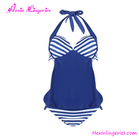 China swimwear manufacturer navy blue unlined teen girls 7-16 swimwear