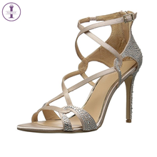 Women New Arrived Fancy Rhinestone Silk Stiletto Ladies Dress Sandals