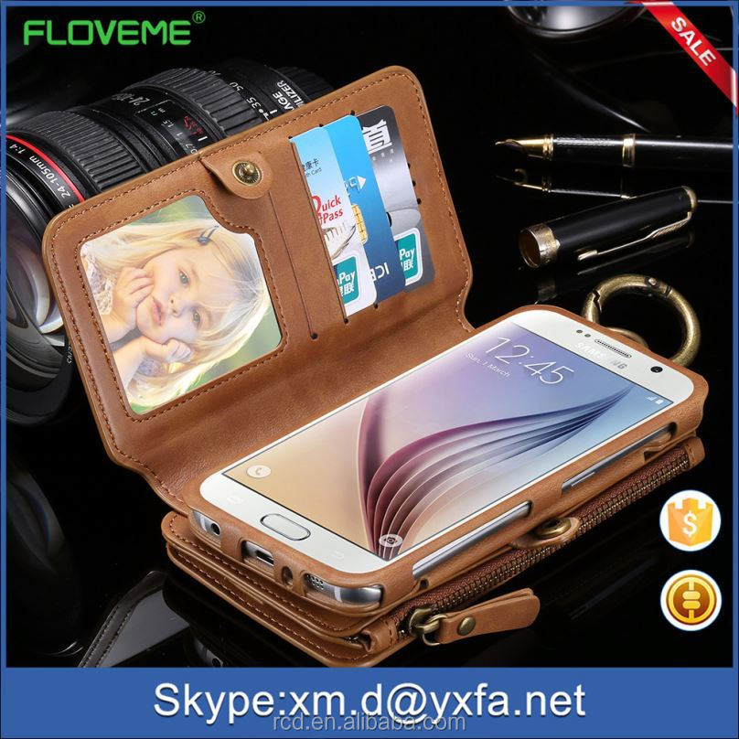 FLOVEME Retro Case for Samsung S6, for Samsung Galaxy S6 Wallet Case, for Galaxy S6 Phone Case