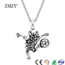 ZMZY brand unique styles men's personalized stainless steel Skeleton play football shaped pendant necklace