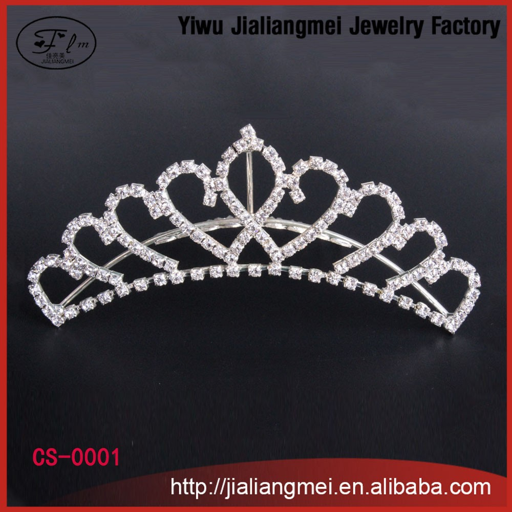 Shining rhinestone Romantic Hair Combs Silver plated Tiara Noble Princess Crown