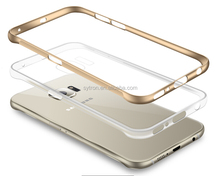 New products mobilephone case metal bumper+TPU cover for samsung S6 edge plus flip cover