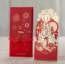 2017 Chinese red luxury church castle design wedding bride and groom romantic guest invitation cards greeting cards hot sale