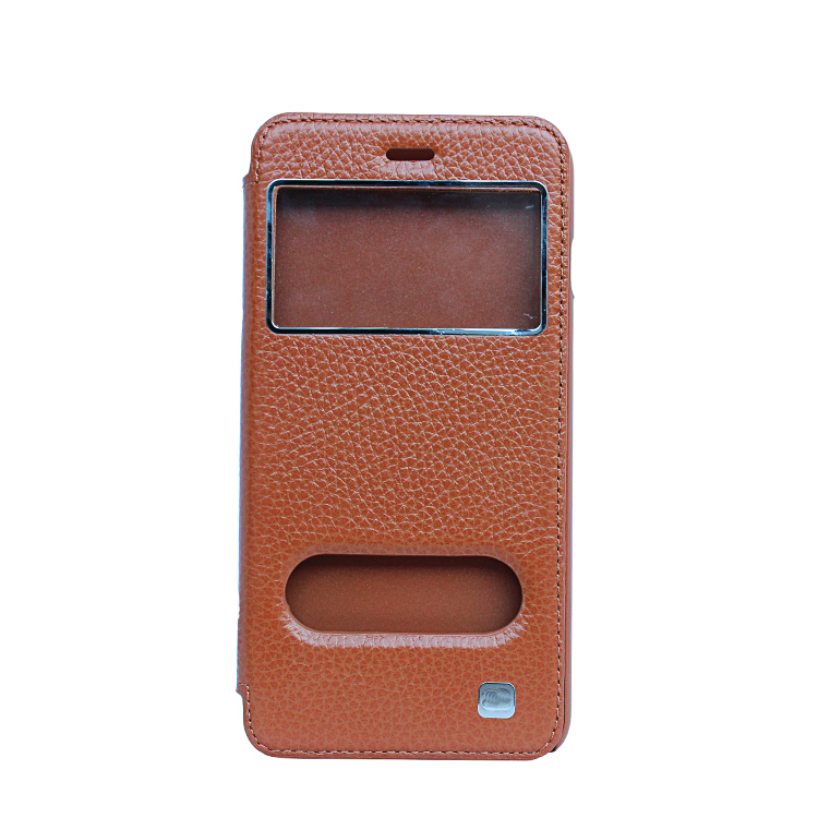 2017 Lychee Pattern leather flip cover for iphone 6plus phone protective case for iphone 6 Plus Case 5.5 inch with nickel Logo