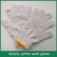 Cheap price wear-resistant working cotton gloves white cotton hand knitted gloves