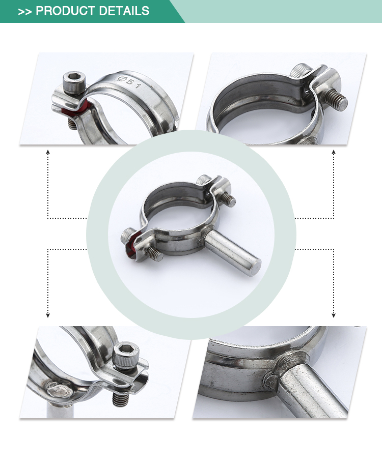 Cheap sell security sanitary clamp stainless steel pipe support