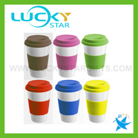Cramic mug factory ceramic double wall travel coffee cup travel cup with silicone lid travel cup with sleeve
