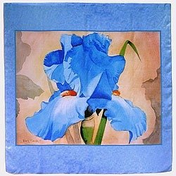 Silk Scarves Blue Iris