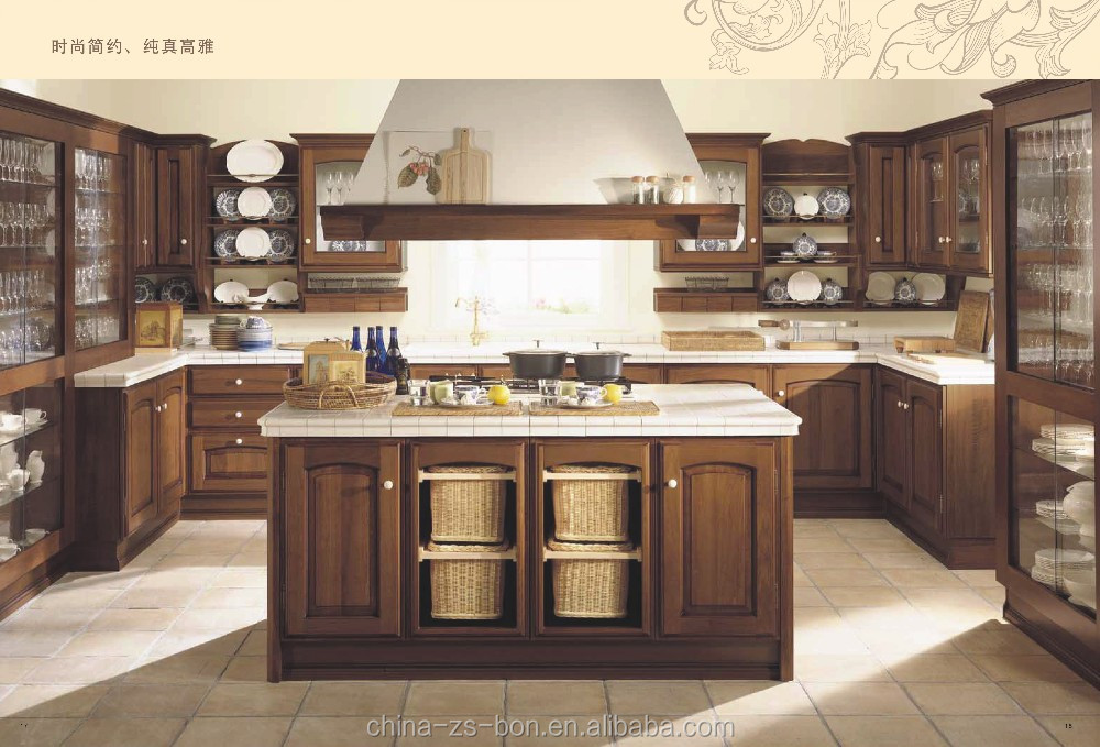 cheap price popular solid wood kitchen cabinet in foshan