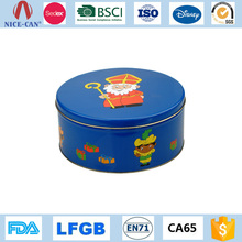Custom Christmas Cookie Candy Gift Tin Can Packing Beautiful Round Metal Gift Box Wholesale