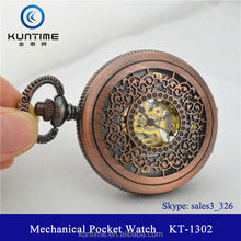 Beautiful carving flower watch face retro style mechanical luxury watch pocket