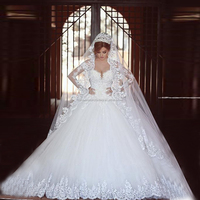 New cheap puffy princess wholesale lace long sleeve ball gown wedding dress CWF1803