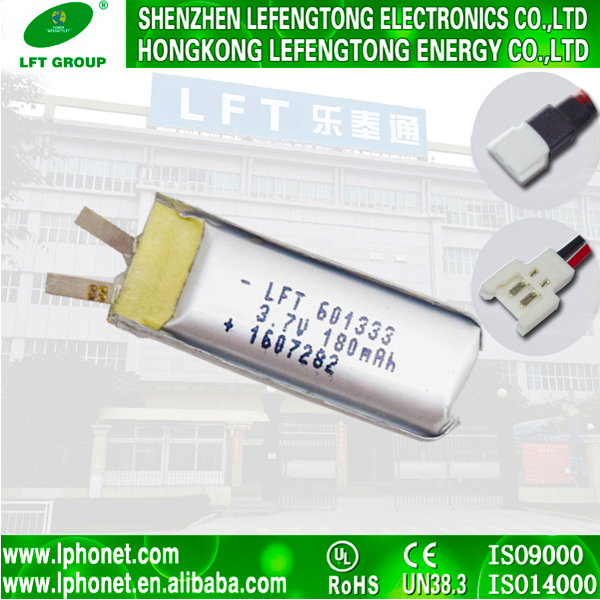 mp3 player battery 601333 180mah li-ion 3.7v li polymer battery