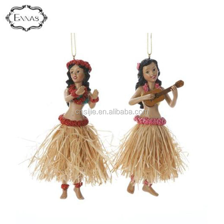Fairy figurines Dancing Hawaiian Hula Girl Custom Resin Ornaments