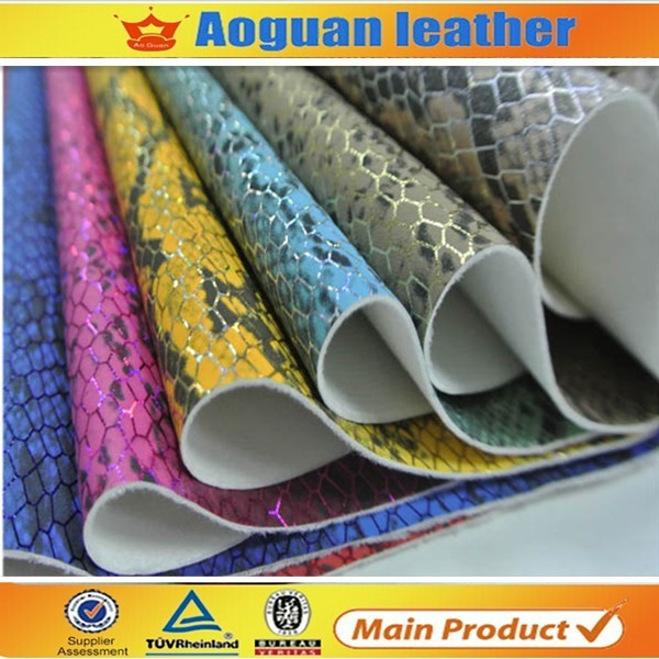 2015 hot sell snake grain synthetic leather textile for shoe