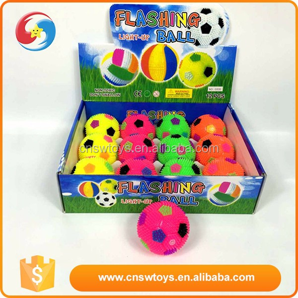 Colourful popular football type funny 7.5cm flashing crazy bounce ball